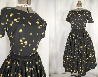Vintage 1950s Circle Skirt Dress | Black and Yellow Cotton Fitted Day Dress