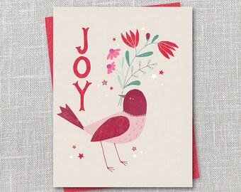 Joy Bird Holiday Notecard Instant Download PDF