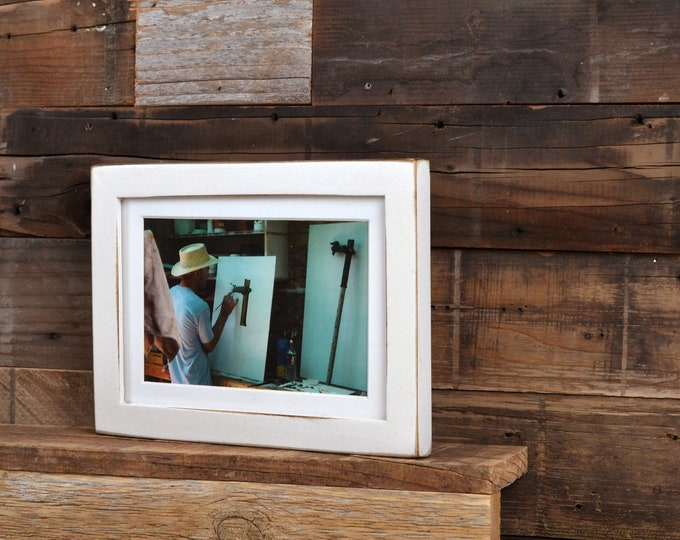 """5x7"""" Picture Frame in PeeWee Style with Vintage White Finish - IN STOCK - Same Day Shipping - Gallery White Frame 5 x 7"""
