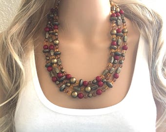 Fall Statement Necklace, Maroon Mustard Gold Necklace, Triple Strand Statement Necklace, fall colors necklace, vintage gold necklace, chunky