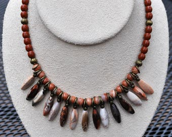 Red Banded Agate and Jasper Necklace and Earring Set