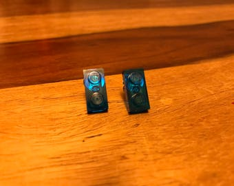 Lego brick tile earrings