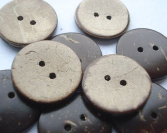 50 Coconut Shell Buttons, 2-Hole 20mm Round Brown Buttons, Pack of 50 Coconut Buttons, 4p Coconut Buttons!! CO02
