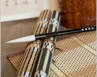 Free Shipping Chinese Calligraphy Material  6.2x1x25cm Long Tip Pure Goat Hair Brush-Ebony Wood Handle - 0001