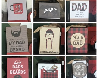 Lumberjack Father's Day 3x4 Blocks - Sawdust Is Man Glitter, Papa Bear, I'm So Plais You're My Dad, The Best Dads Have Beards, Coolest Dad