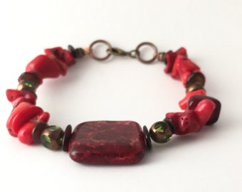 Bohemian Bracelet Red- Natural Stone Bracelet-Boho Jewelry-Handmade Bracelet-Rustic Bracelet-Earthy Bracelet-Beaded Bracelet Red-Boho Style