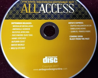 All Access September 2017 Embroidery machine Design Cd CD ONLY USED