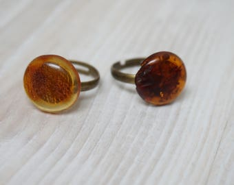 Ring Amber Jewelry Handmade Retro made in Lithuania Baltic bronze brass metal round one size fits all large small medium gem gemstone stone