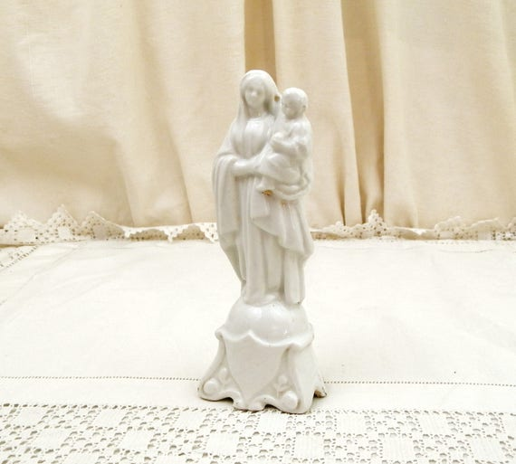 Antique French Bone China Madonna Statue White Glaze, Religious Porcelain de Paris Mother and Child Statue Made in France, Virgin Mary