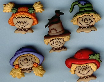 SCARECROW FACES Farm Harvest Festival Hats Halloween Dress It Up Craft Buttons
