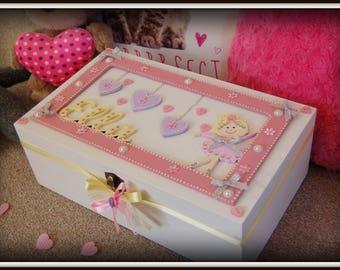 Ballerina Design Keepsake Box Memory Chest Girls Room Decor Storage Box New Baby 1st Birthday  Christening Day Secrets Box Girls Storage