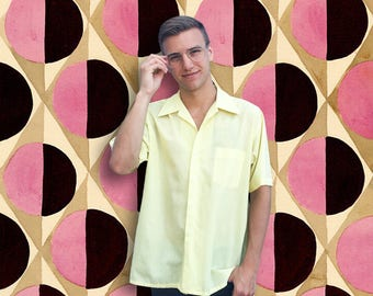 Vintage 1970's Vibrant Yellow Short Sleeve Button Up Shirt