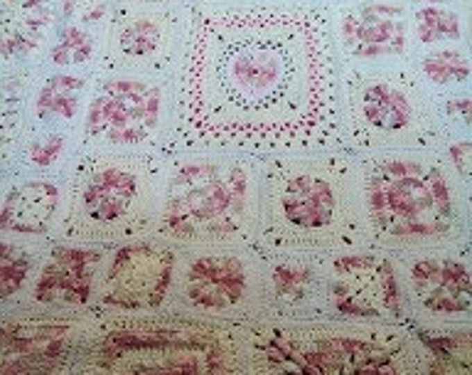 """54"""" by 54"""" Soft Original Design Pattern for Child's Afghan, Various Size Options, """"Pretty in Pink"""""""