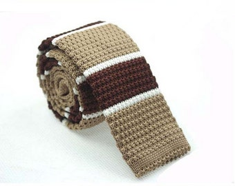 Knitted Ties.Mens Knit Neckties.Mens Ties with Coffee Brown and White Stripes.Wedding Ties for Men