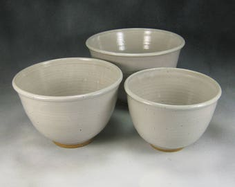 Bowl White Nesting Bowl Set Ceramic Serving Bowl Hand Thrown Stoneware Pottery Bowl Set 12