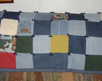 Throw-size Denim Quilt from Recycled Jeans