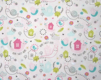 "Cotton JERSEY white ""SNAIL"" grey, green, blue and pink pattern"