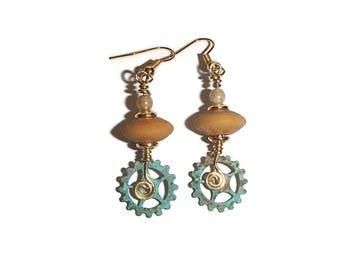 Steampunk Verdigris Gear Ceramic Earring Boho Steampunk Jewelry Gear Earrings Rustic Edgy E104