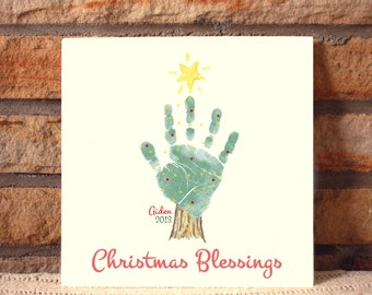 Christmas Tree Handprint Plaque 302B_Plq