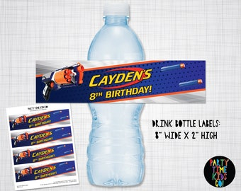 Dart Drink Bottle Labels Drink Wrap Dart Birthday Party Dart Gun Wars Orange Blue Silver -  Digital File Supplied