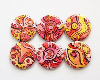 Magnet set, Locker Magnets, Magnets, Fridge Magnets, button magnets, Kitchen Magnets, Abstract Design, Orange, Pink, Yellow, under 10 (3760)