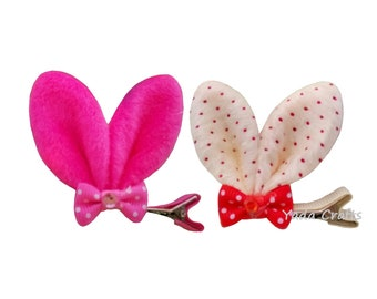 Bunny Ears-Rabbit Ears-Rabbit Ears With Resin Diamond And Bow-Bow-Gift-Accessories-Hair Accessories-Hair Clip-Clip-Baby Shower-Present-Girl