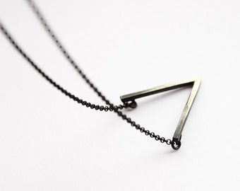 V - oxidized silver necklace with V pendant - oxidized sterling silver necklace with oxidized pendant - minimalist necklace