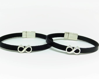 Infinity Couple bracelet his and hers Infinity bracelet Leather leather bracelet Mens leather bracelet Couple bracelets Anniversary gifts