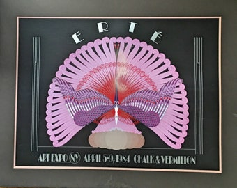 1984 Chalk and Vermillion Erte Poster with Mat