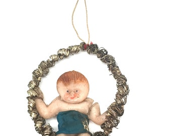 Wax Angel Christmas Ornament,Antique Wax Angel,Victorian,Wire Wrapped Wreath,Unique, Rare, c1910