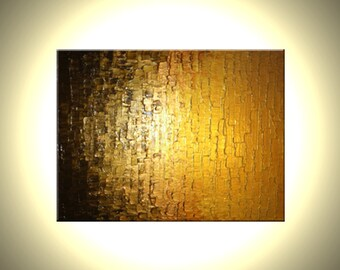 Gold Bronze Impasto Palette Knife ORIGINAL Abstract Metallic Contemporary PAINTING Textured Art by Lafferty - 18x24 - Free Shipping
