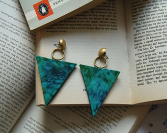Marbled Aquamarine Triangle Earrings