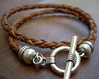 Double Wrap Braided Leather Bracelet, Mens Leather Bracelet, Womens Leather Bracelet, Mens Jewelry, Womens Jewelry, Leather Jewelry, Leather