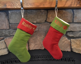PET STOCKING - Personalized Linen Pet Stockings - Monogrammed Paw Print Stockings