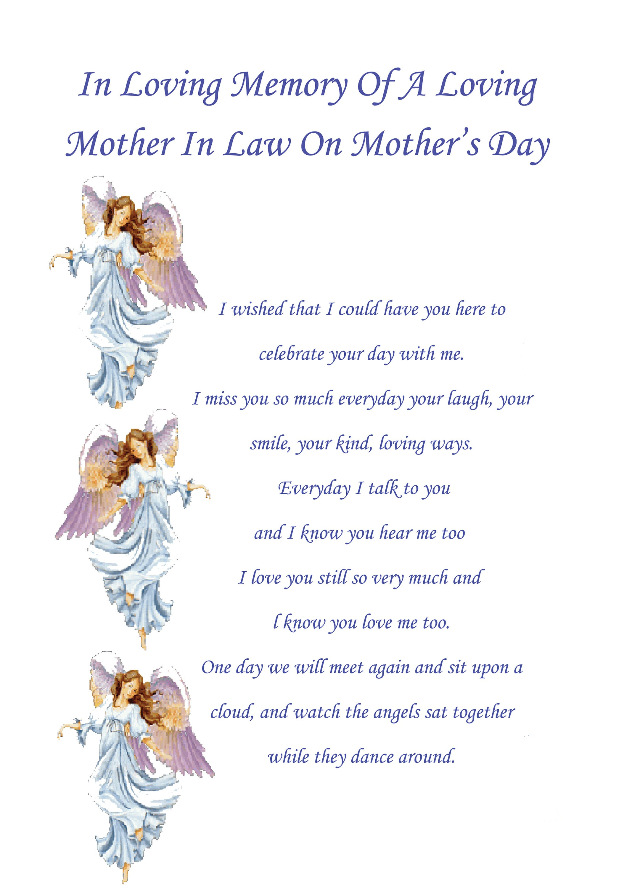 Mother In Law In Memory Mothers Day Card