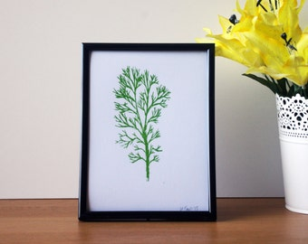 Hand Pulled Birch Tree Screen Print A5 - 105x148mm - Green - Print Only