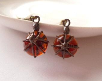 Wire earrings, orange glass lens, gift for women, contemporary earrings, orange earrings, wire jewelry, Little berry