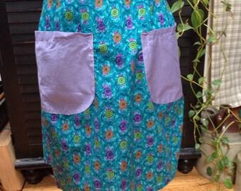 Handmade vintage apron - teal and lavender floral