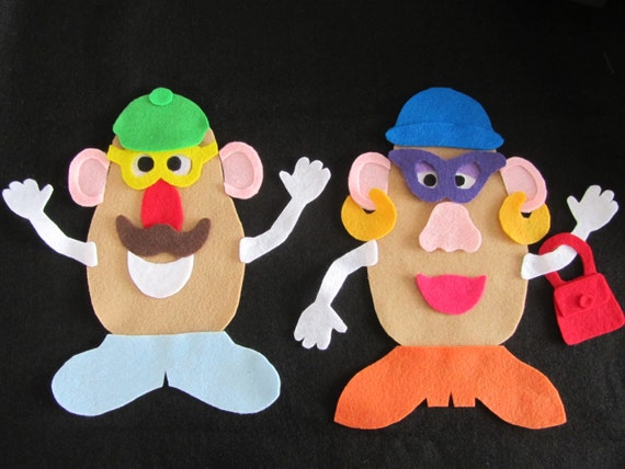 Mr and mrs potato head pieces for felt board for Mr potato head felt template