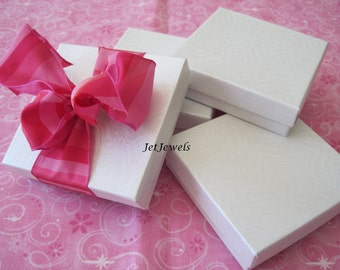 10 White Gift Boxes, Jewelry Gift Boxes, Bridesmaid Gift Box, Party Favor Boxes, Cotton Filled, Gift Box 3.5x3.5x1