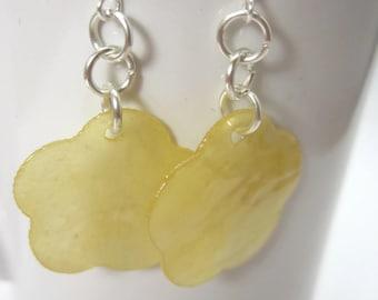 Yellow Capiz Shell Flower Earrings