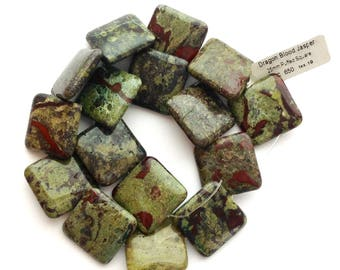 Dragon Blood Jasper Beads 25 mm Puffed Square Drilled In Center