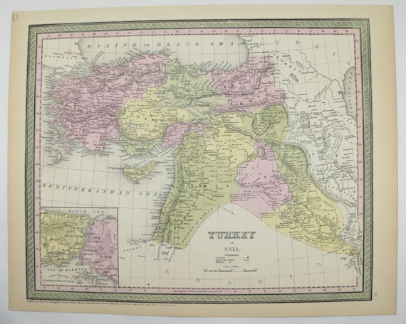 S Antique Turkey Map Iraq Syria Map Palestine Middle - 1800s world map