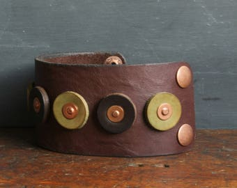 Wide Leather Cuff - Rustic - Leather Bracelet - Leather Jewelry - Copper - Handmade - For Men - For Women - Brown - Green