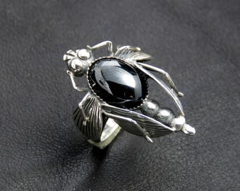 Bug ring, black onyx ring, Gothic ring, sterling silver women's ring, nature jewelry, bug jewelry, insect ring insect jewelry gift for women