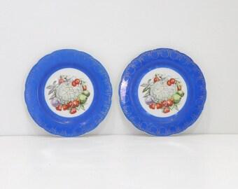 vintage decorative plates | blue china fruit plates | garden of plenty plates | scalloped edge & Hanging fruit plates | Etsy