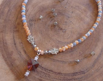 Natural stone necklace with heart and Hamsa hand