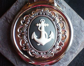 Grey anchor cameo mirror, compact mirror, heirloom mirror, nautical mirror, bridesmaid gift, holiday gift ideas, unique Christmas gift