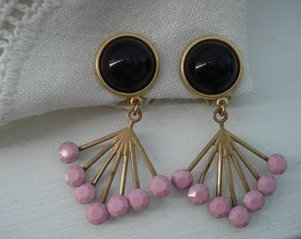 Vintage Art Deco Czech Black Onyx and Pink Milkglass Rhinestone Fan Dangles Earrings Gold Clip Statement Earrings
