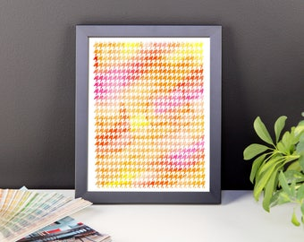 Houndstooth watercolor orange pink framed poster print home decor housewarming gift modern art geometry pattern